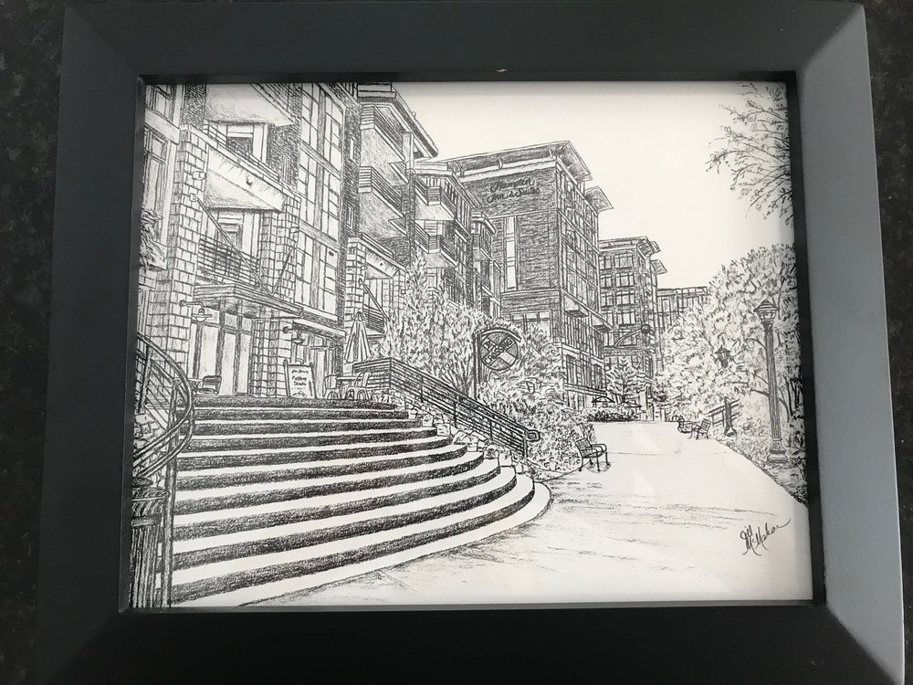 ART CROSSING CHARCOAL PRINT   Decorate your home with this framed 8x10 print of a charcoal drawing of the iconic Greenville landmark - Art Crossing.  DONOR: Jill McMahon VALUE: $60