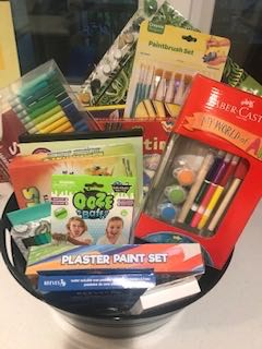 CRAFTS BASKET   Your resident artist can be creative for days with this basket full of crafts. Included are plaster and paint sets, pencils, markers and pastels, slime bath, crystal pets, and a Llama Lamp set.  DONOR: Kindergarten Classes VALUE: $95
