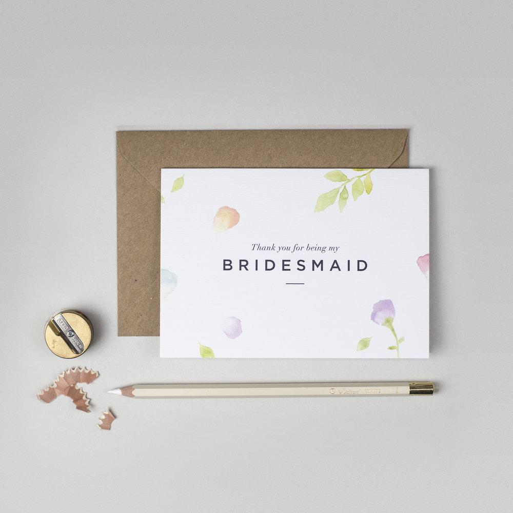 Thank You Bridesmaid Cards | Amelia Thank You For Being My Bridesmaid Card Ink Bloom