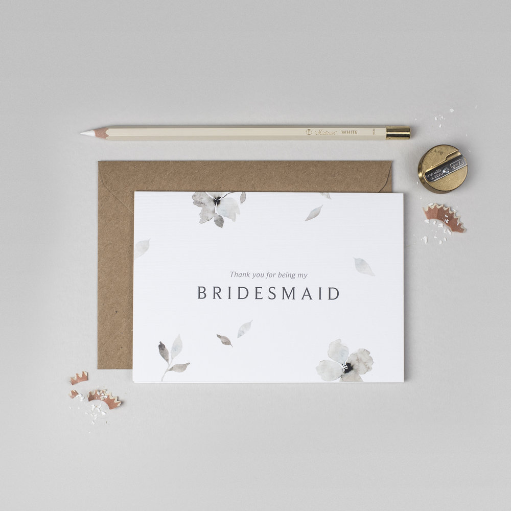 eloise thank you for being my bridesmaid card ink bloom