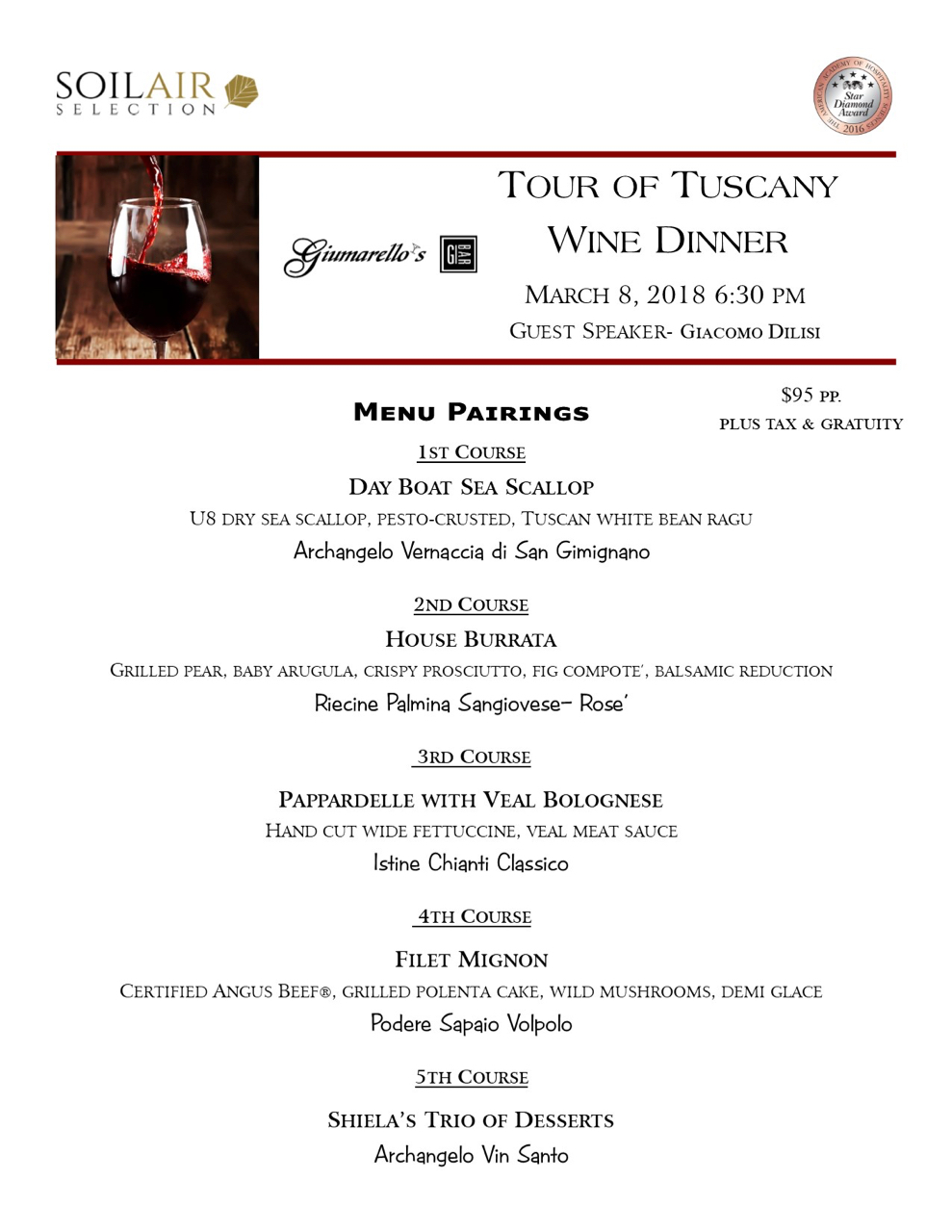 Wine Dinner At Giumarello's