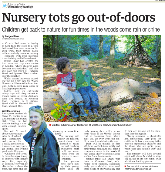PR coverage obtained for the launch of Into the Woods nursery (click to enlarge)