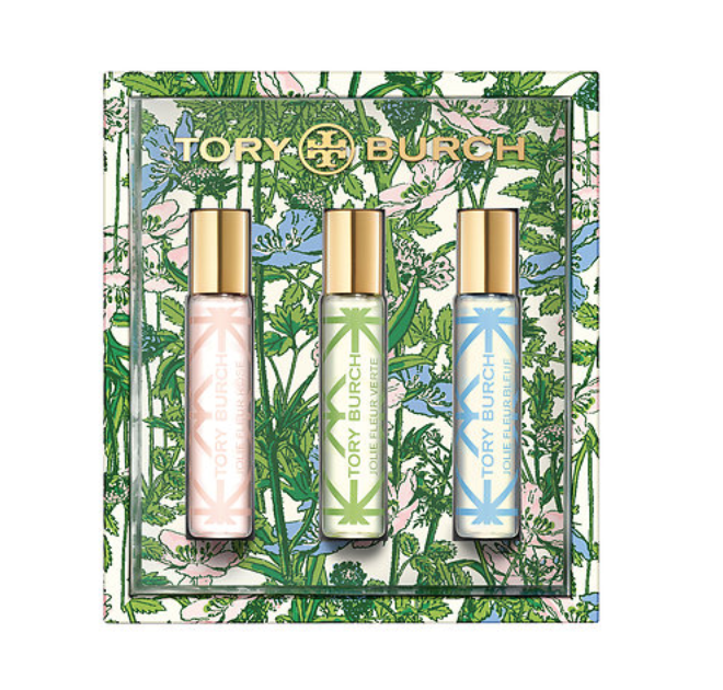 Tory Burch Mini Travel Spray Set - I prefer a spray perfume over a rollerball but they can be hard to find in travel size. That's why I'm excited for this Tory Burch Jolie Fleur collection of three unique fragrances inspired by the flowers and colors in Tory's garden: rose, lily of the valley, and tuberose.To buy: Sephora, $24