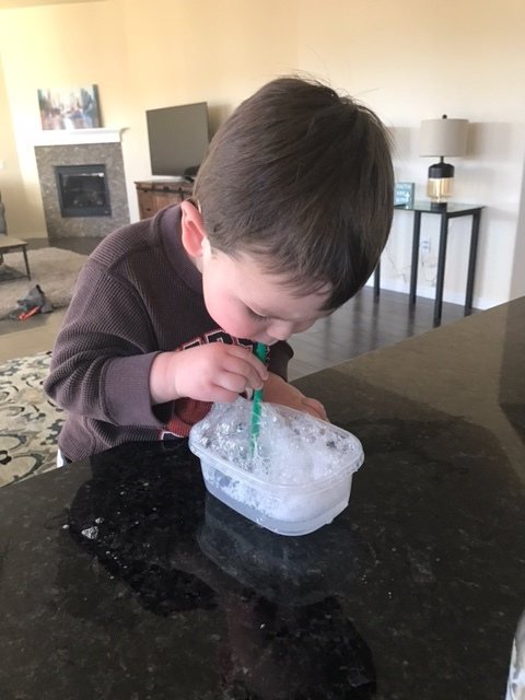 Jamie's son playing Bubble Monster