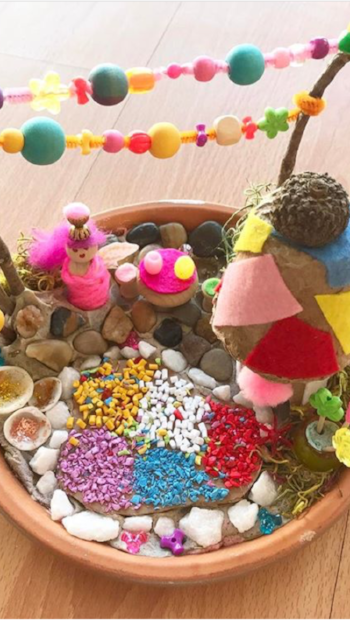 Use your creative art kit as well as the items you collect on your scavenger hunt, all included the the May Box, to make this Fairy garden!!!