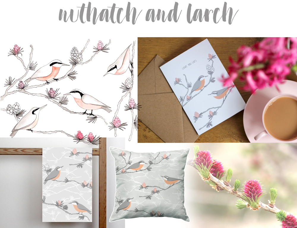 While out walking in the Lake District, I was fascinated by two beauties of nature that I had never encountered before: Nuthatches, scurrying up and down tree trunks, and larch branches in blossom. A new print was unfolding before my eyes!