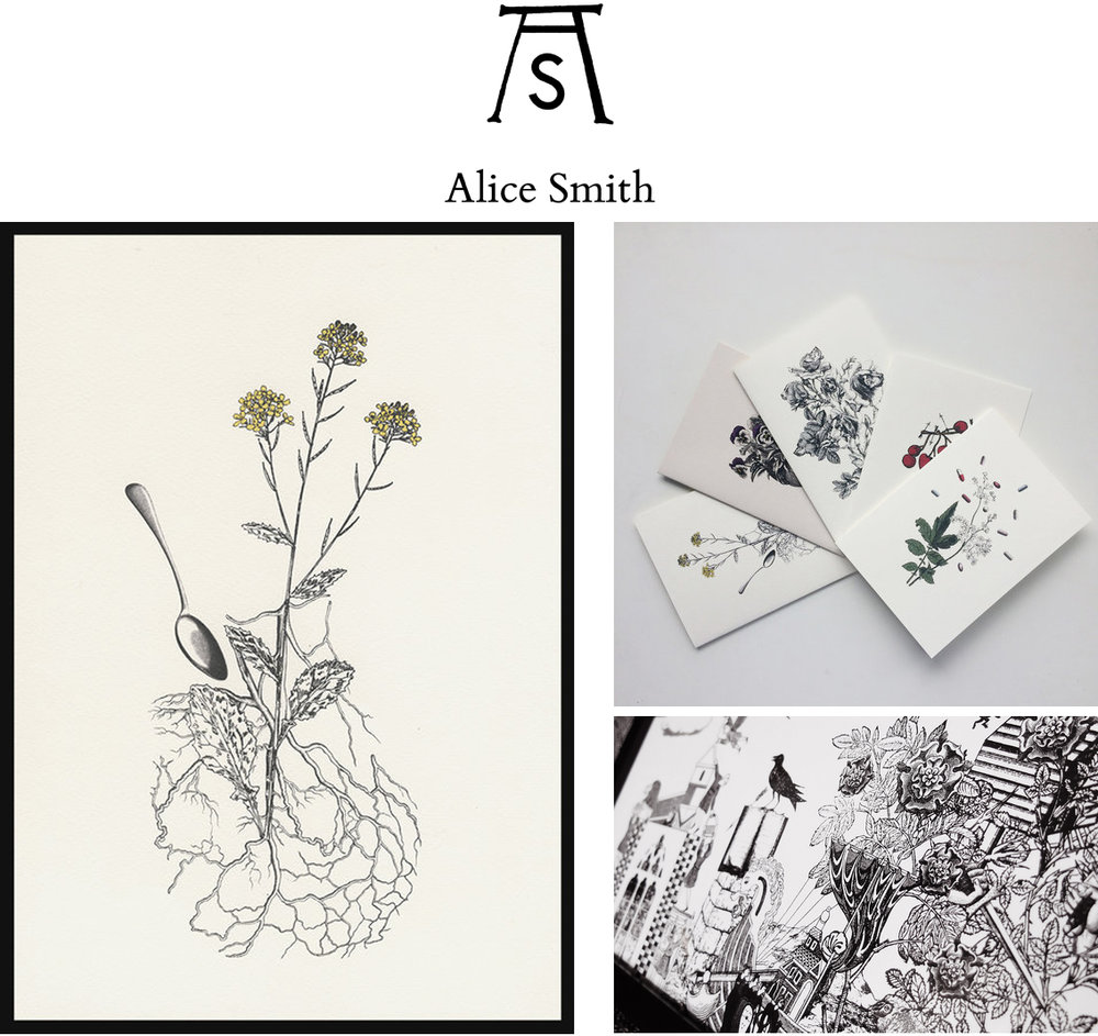 Alice Smith 's stunning work was a new but very welcome discovery for me. Alice produces work in the form of books and limited edition prints. Her work includes a mixture of line drawing and collage, and occasionally employs printmaking techniques including silkscreen and letterpress printing. My favourite items on her stall were her beautiful printed seed packets - right up my street!