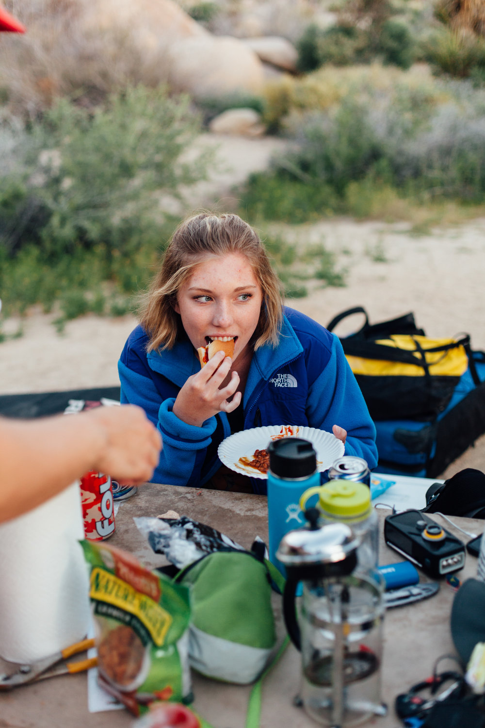 Bridget is a dedicated vegitarian as she can be seen here eating a bean hot dog (I know, freaked me out too)