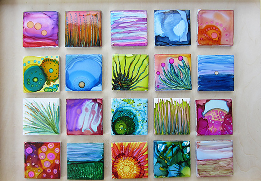"Alcohol ink paintings on 2"" x 2"" tiles"