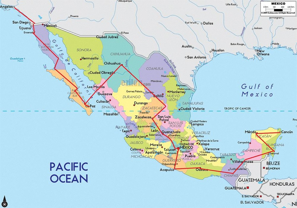 Travel through Mexico from Nov 2018 until March 2019.