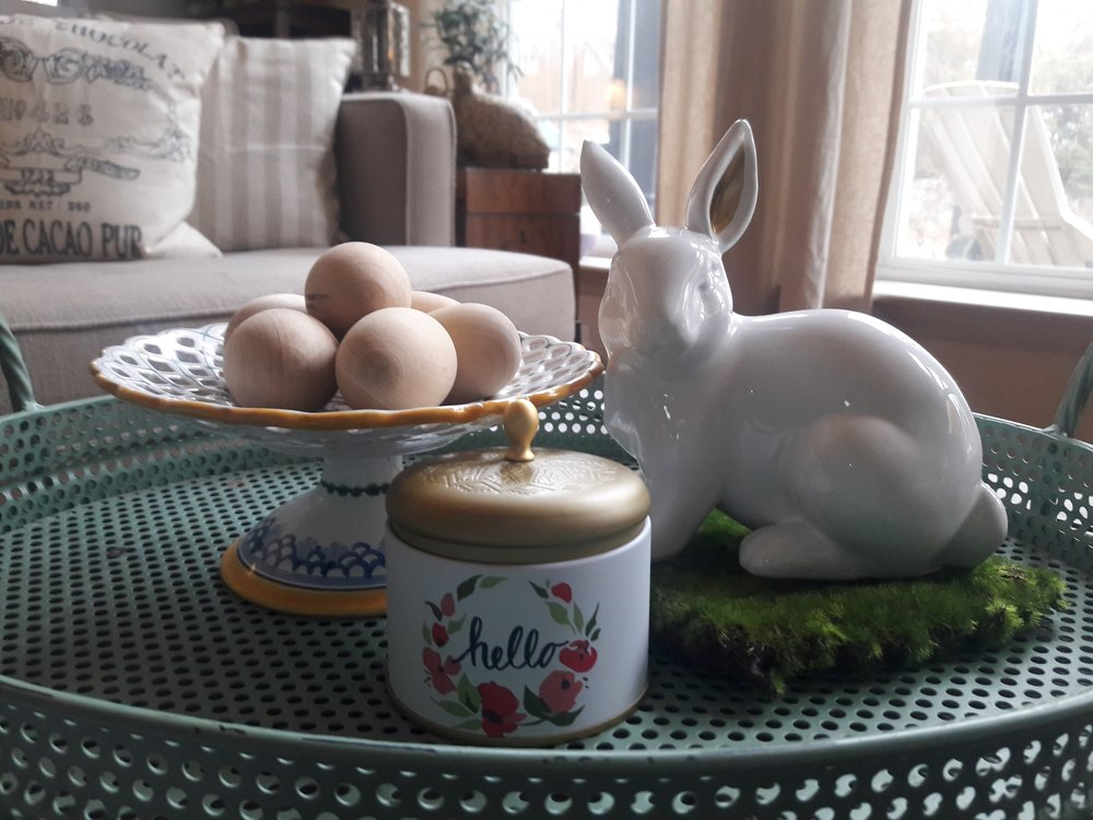 "I have this on my coffee table. The bunny, ""hello"" candle and 6 wooden eggs are all from the dollar isle at Target ($3). Aren't they cute. I got the square of moss at Michaels with all their Spring decor."