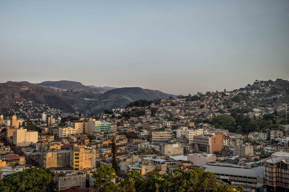 Tegucigalpa at dawn, capital of Honduras.  Youngsters tend to leave the countryside areas, a hotbed of violent con ict over land, to pour into big the two major cities of Honduras, Tegucigalpa and San Pedro Sula, where they find no job opportunity and this makes them more likely to end up working for the gangs.