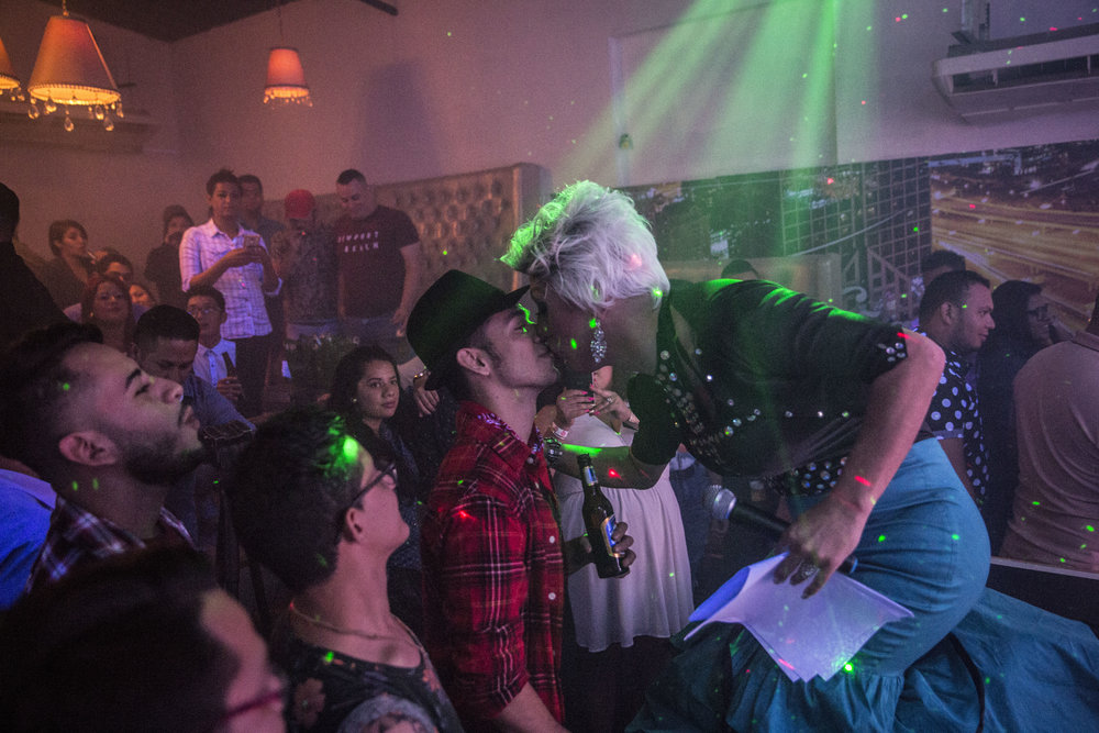 During a beauty contest in a discotheque called Dubai in the center of Tegucigalpa, the capital of Honduras.