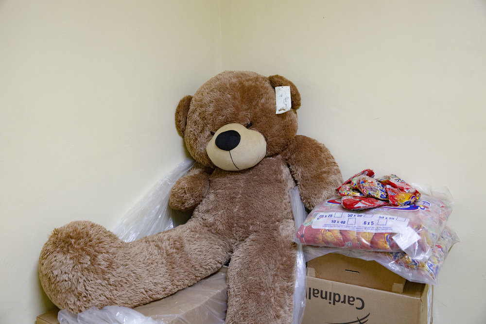 A stuffed animal bear in once of the administration offices at the Ruth Paz hospital in San Pedro Sula. It was donated to the foundatiion and they inted to use it to organize a lottery in the hospital to raise a little bit or money.