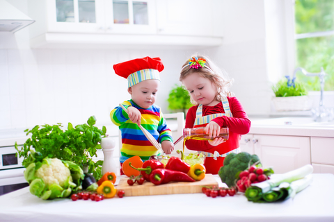 Teaching kids to prepare healthy meals can be fun for the whole family!  Good habits start when they are young.