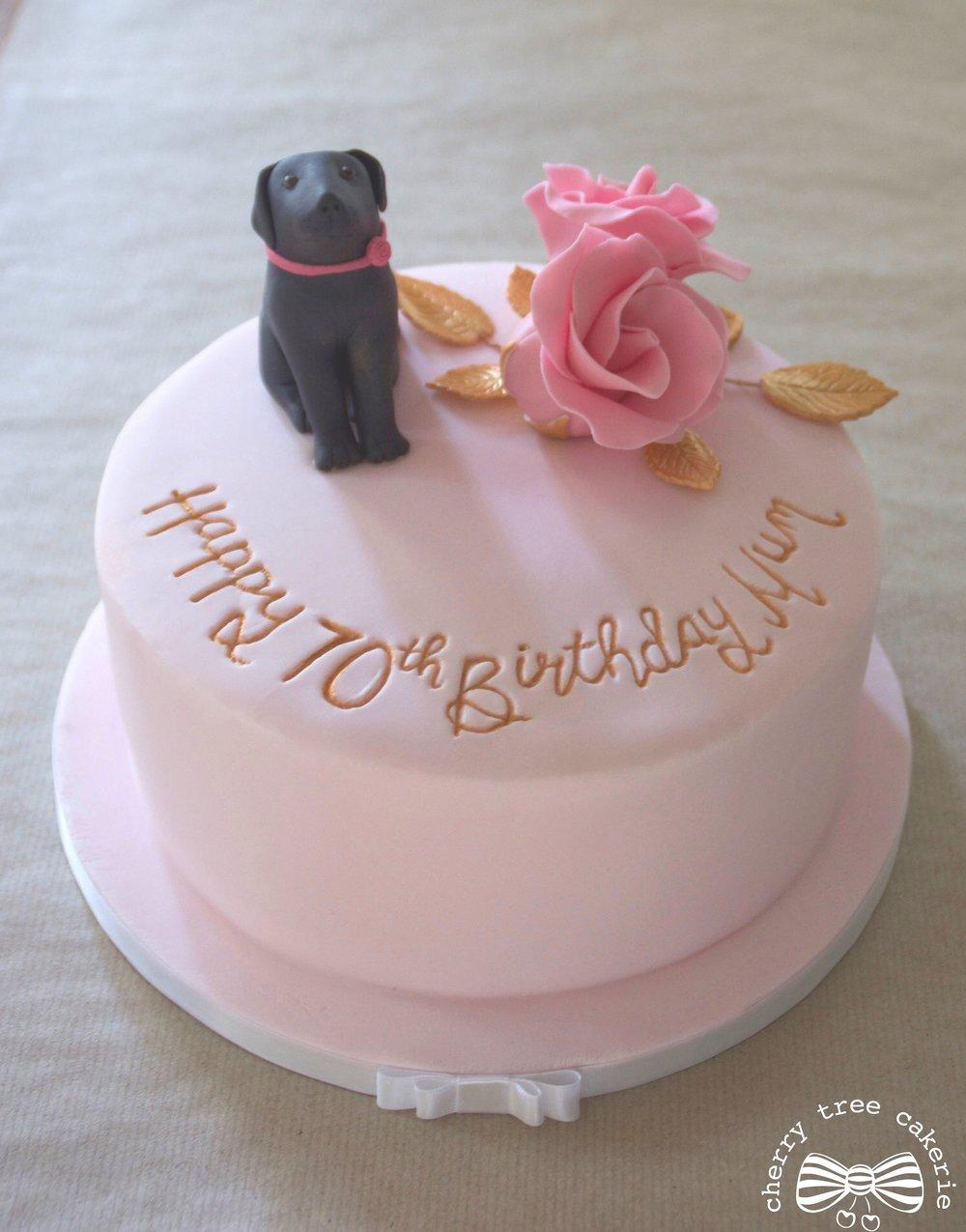 Black-labrador-pink-birthday-cake