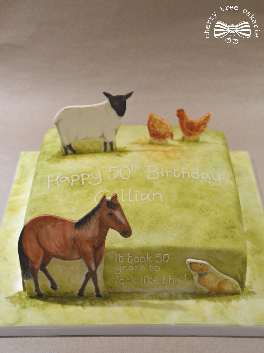 watercolour-farmyard-birthday-cake