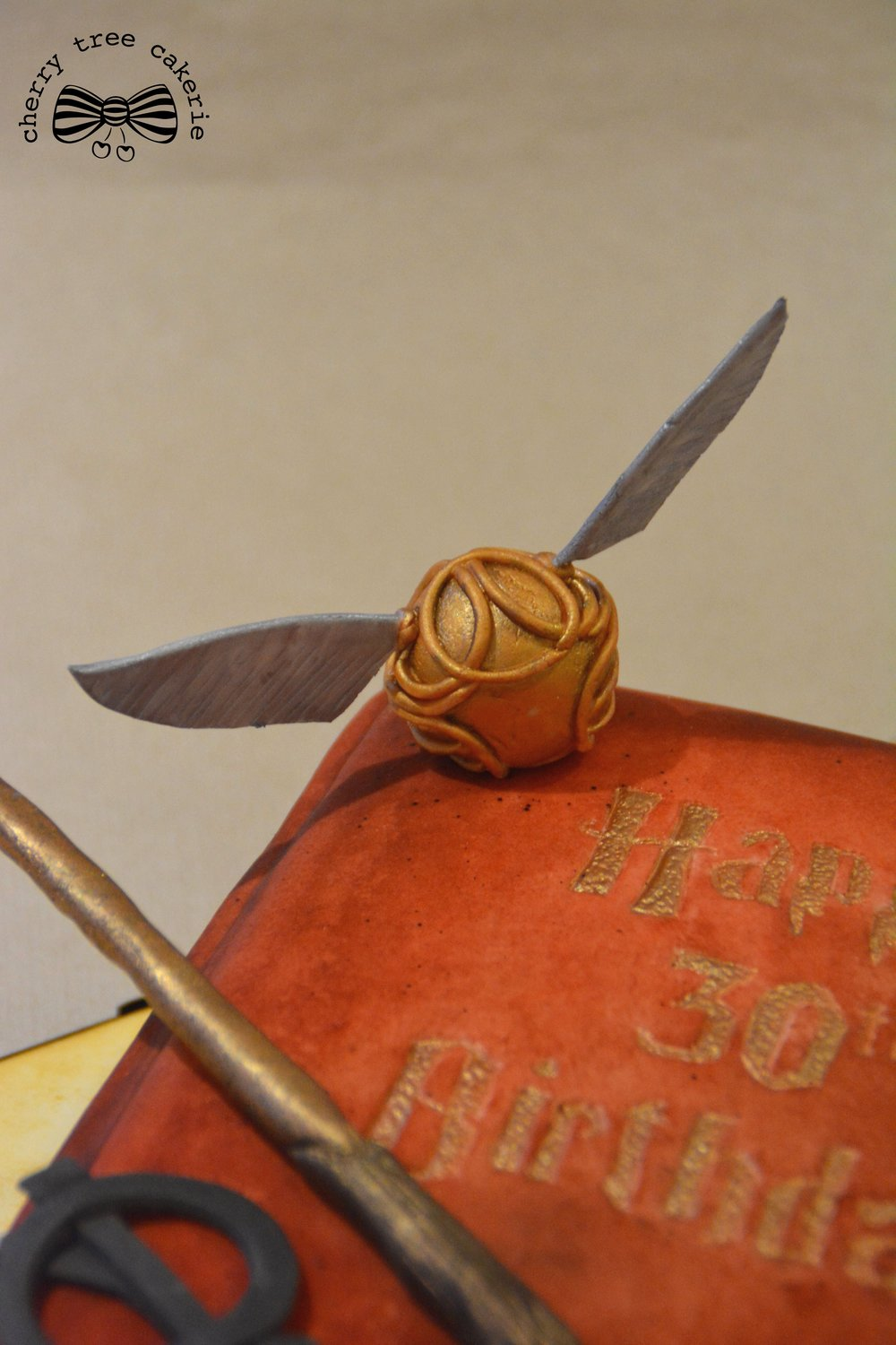 Harry Potter-spellbook-cake-with-snitch