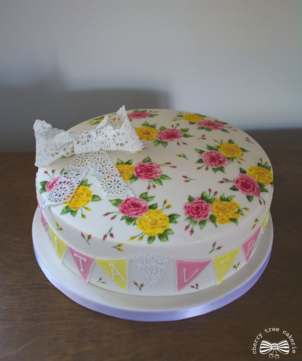 Rose and Lace Christening cake top view.jpg