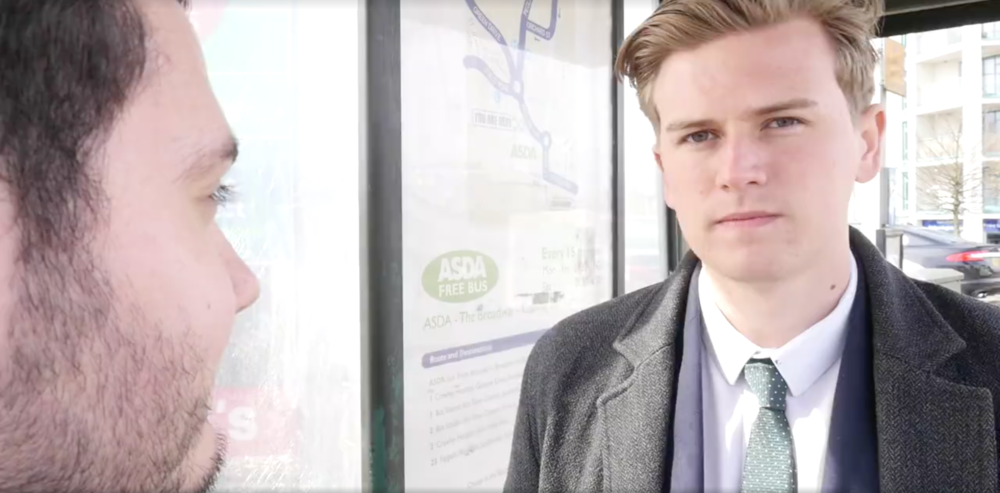 "Bower starring in Viral Video ""Things You Don't Hear People In Crawley Say."""