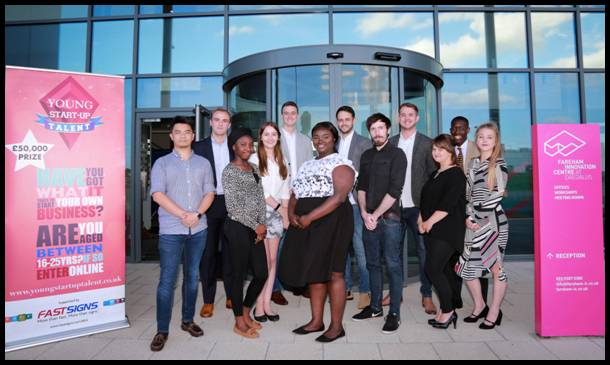 LINE-UP: The finalists at Young Start-up Talent Hampshire at Fareham Innovation Centre, south Hampshire. From left, Ming Wu of The Maker's Guild, Tom Farrugia of Blue Gee, Adeola Babolola, Holly Abbott, Jonathan Tellyn of Innobox Design, Philipa Brobbey of Braids Galore,  Adam Stannard of Innobox Design, Tom Fowler and Chris Key of The Designer Toolkit, Alice Dixon of Seek a Word, Jeremy Mutebi of JeremyMutebi, and Natasha Tiffin of Seek a Word.