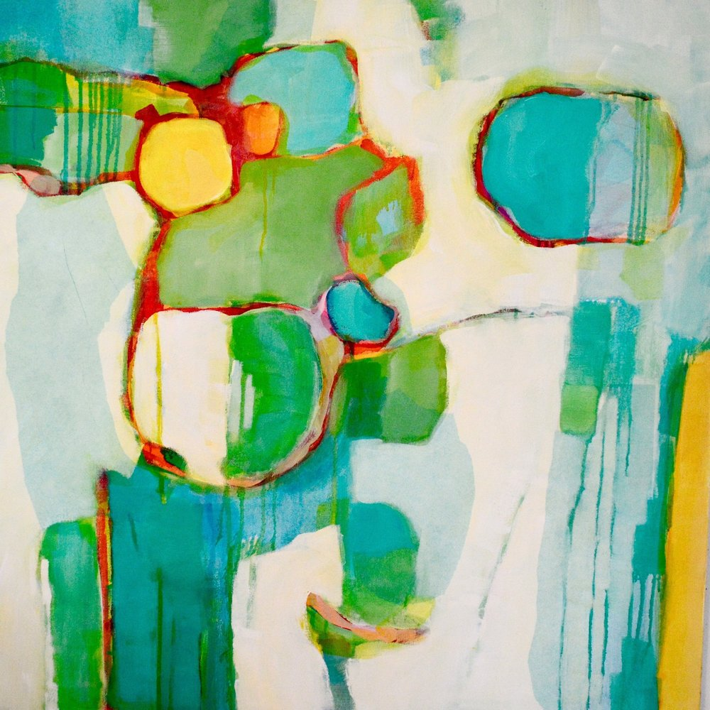 "Sea Glass, mixed media, 36x36"" SOLD"