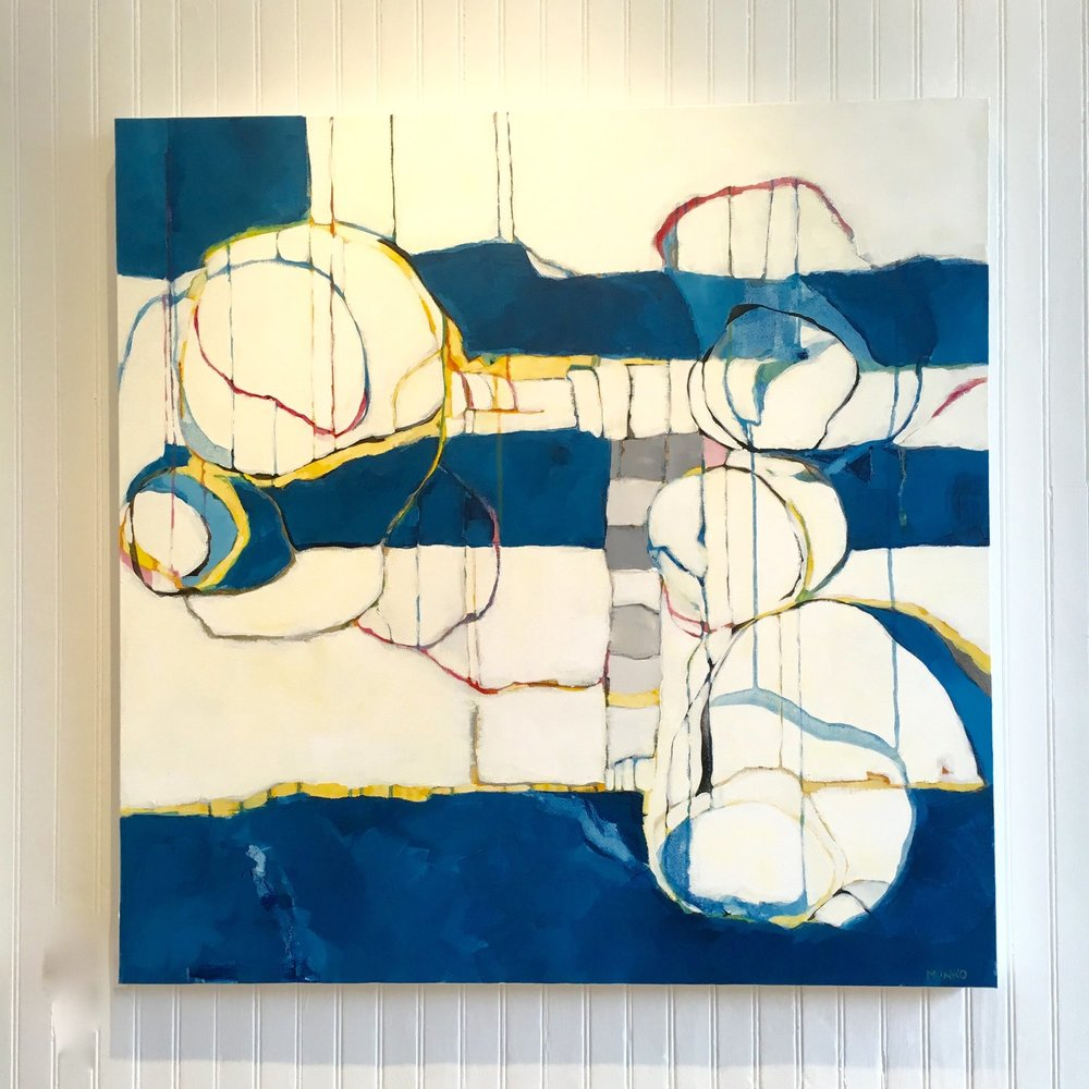 Bubbles and Stripes, mixed media, 36x36 SOLD