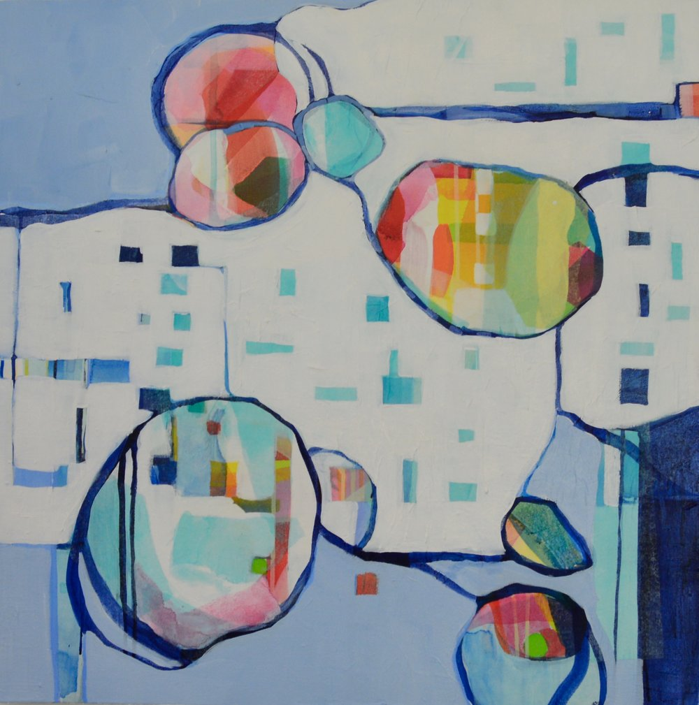 "Bubbles and Stripes in Blue, mixed media, 30x30"" SOLD"