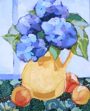 "Hydrangea Study, mixed media, 9x12"" SOLD"