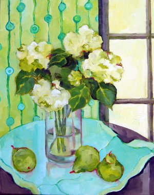 "White Hydrangeas, mixed media, 10x20"" SOLD"