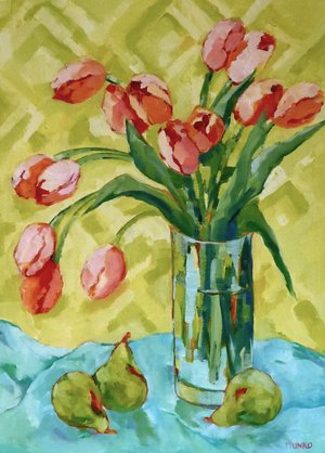 "Tulip Study, oil on canvas, 18x24"" SOLD"
