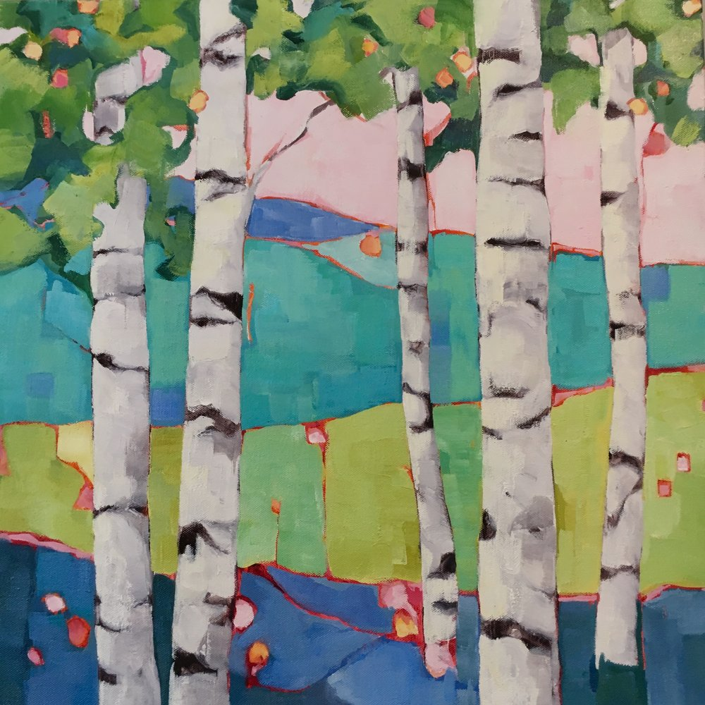 "Birch Study 2, oil on canvas, 24x24"" SOLD"