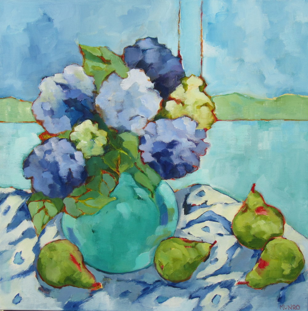 "Summer Hydrangeas, oil on canvas, 24x24"" SOLD"