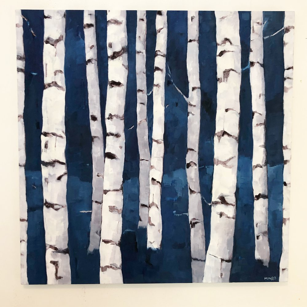 Birches in Indigo, oil on canvas, 36x36