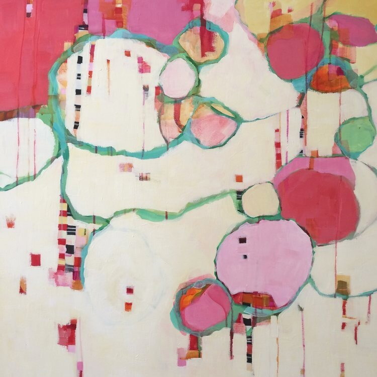 "Sweet, mixed media, 36x36"" SOLD"