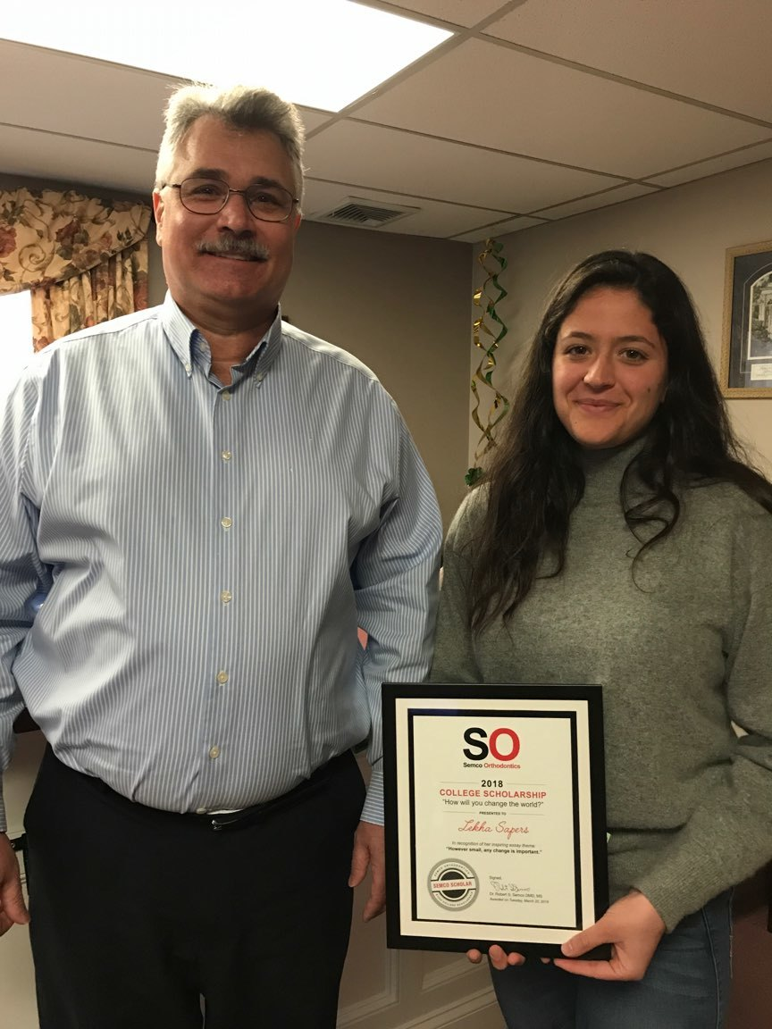 Dr. Semco with 2017-2018 Semco Orthodontics $1000 College Scholarship recipient Lekha Sapers, a highly involved and ambitious St. George's student.