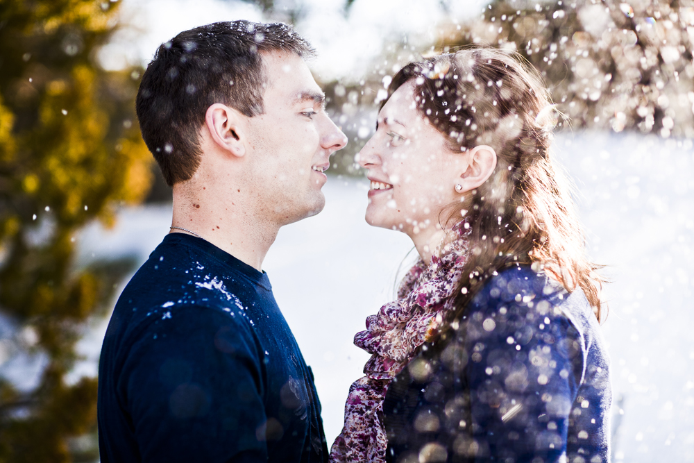Gorgeous snowfall engagement session