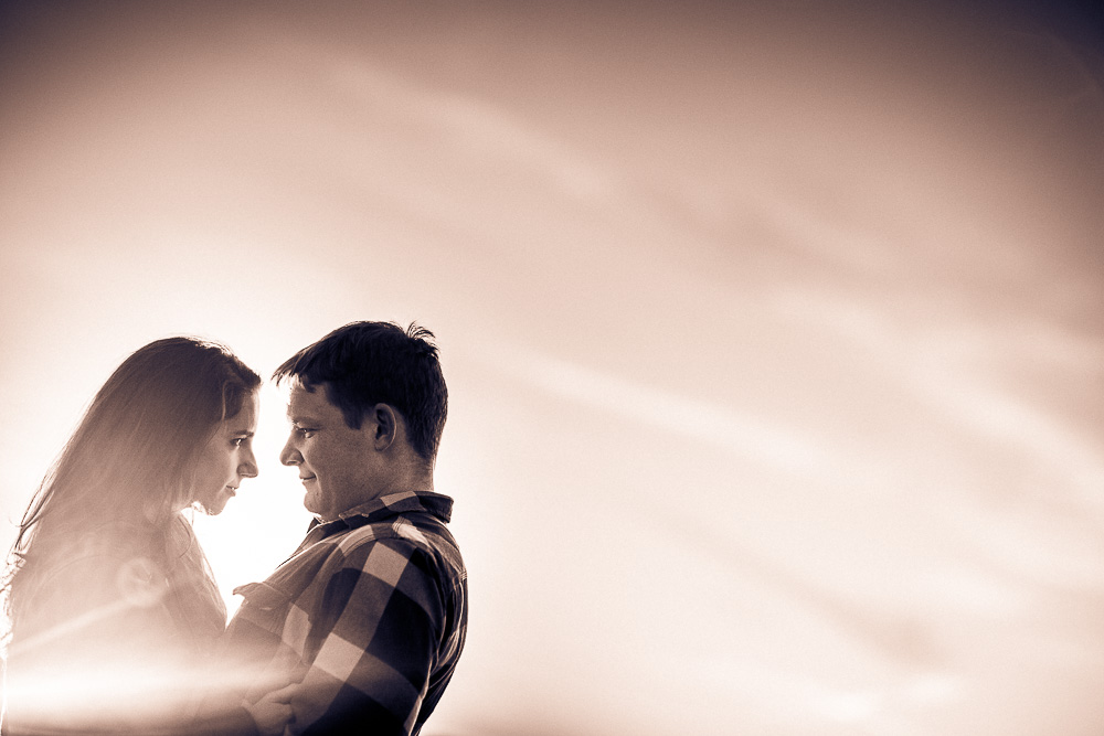 Gorgeous sunset shot of Alex & Rebecca at their engagement shoot