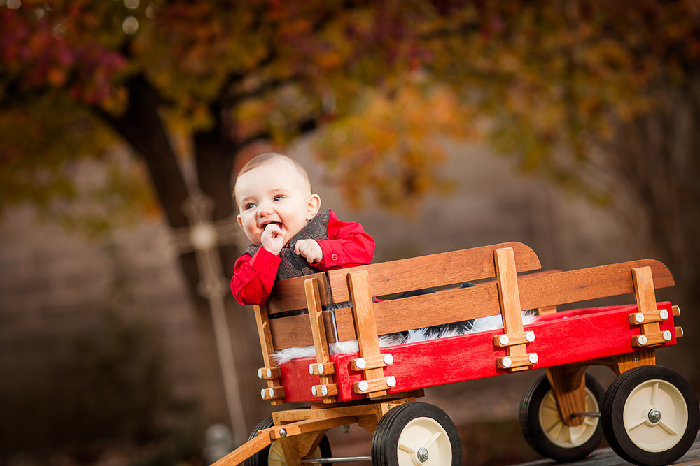 Camden's adorable wagon baby session in Fall, New Mexico