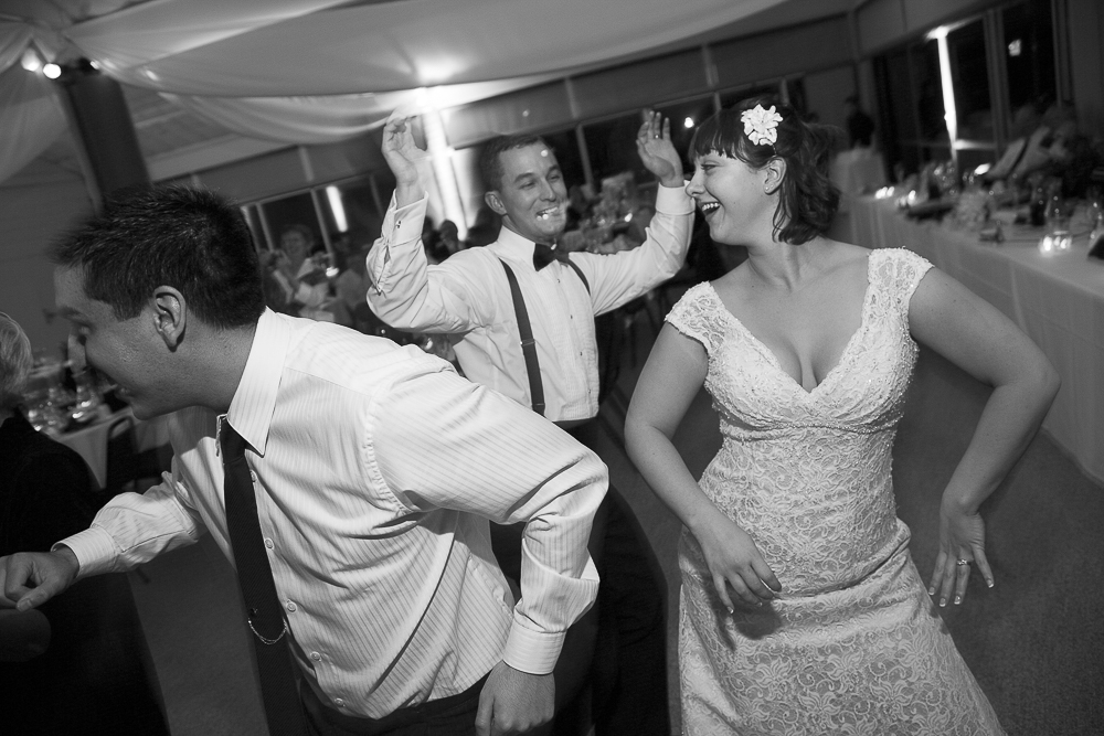 Aaron & Emma having fun, dancing at their wedding reception