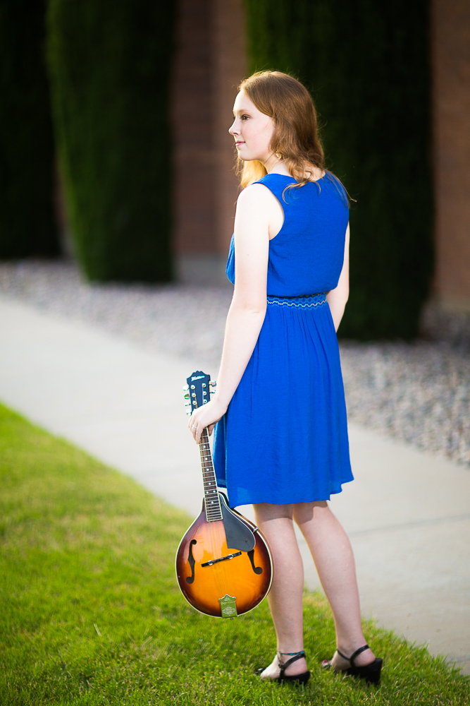 Sarah and her mandolin, senior photo session