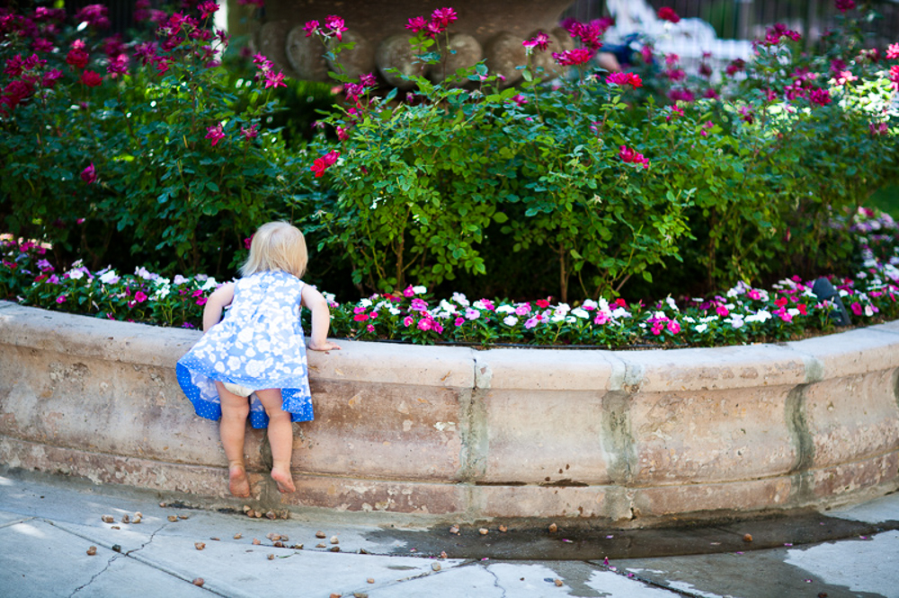 Cute little girl looking at the flowers