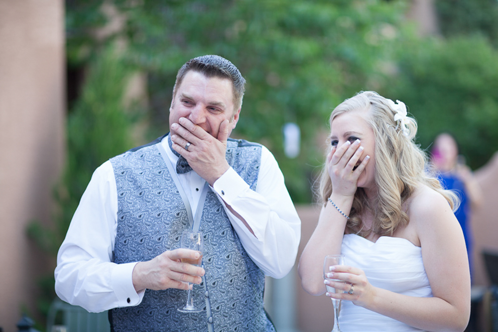 Bride and groom reaction