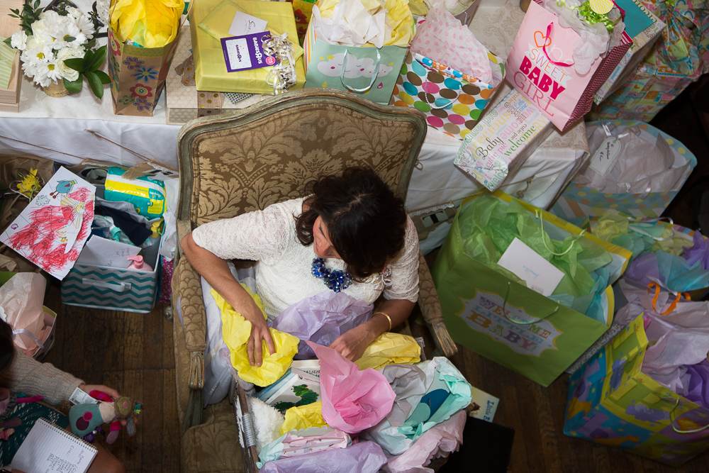 Susan opening her many, many gifts!