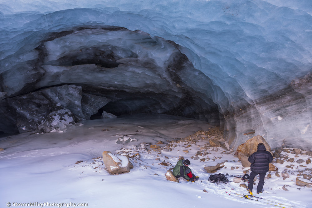One of several ice caves I explored with my friend Forrest near the terminus of Augustana Glacier.