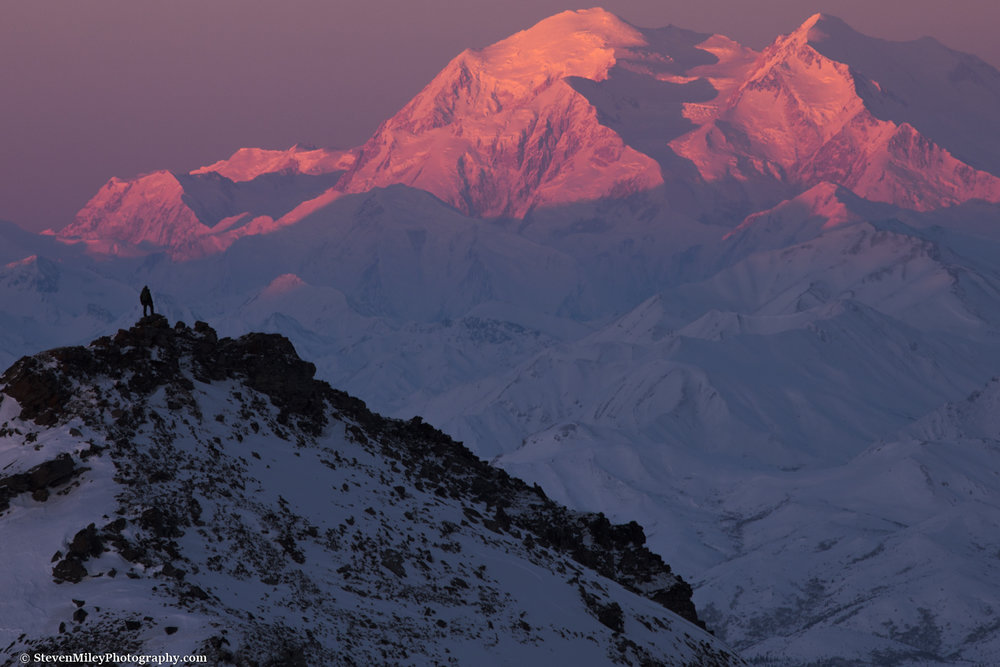 Denali at sunrise with me in the foreground.