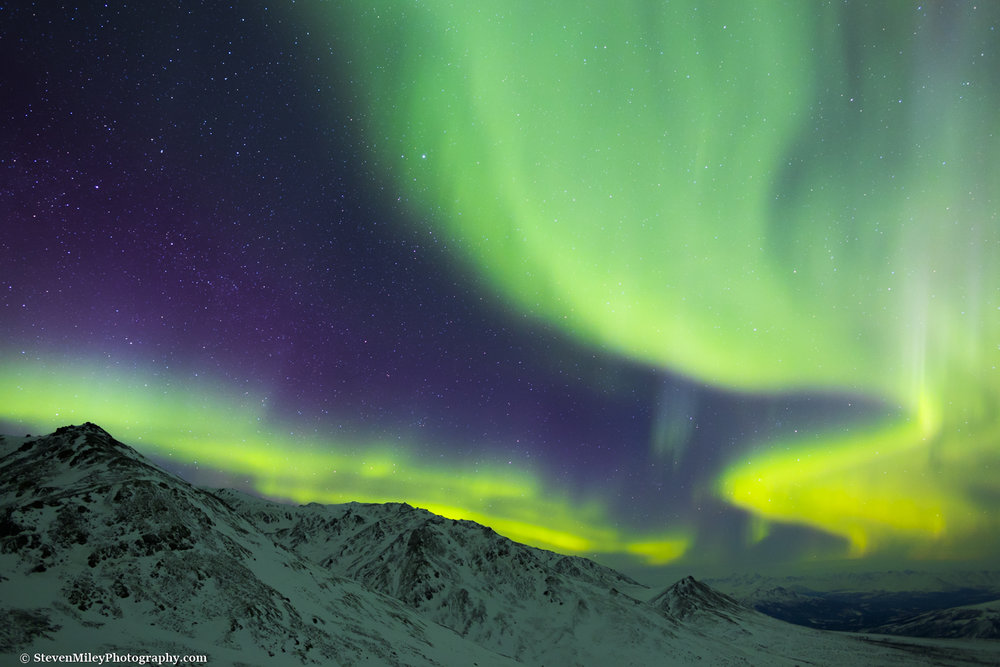 The aurora looking east toward the entrance of Denali National Park.