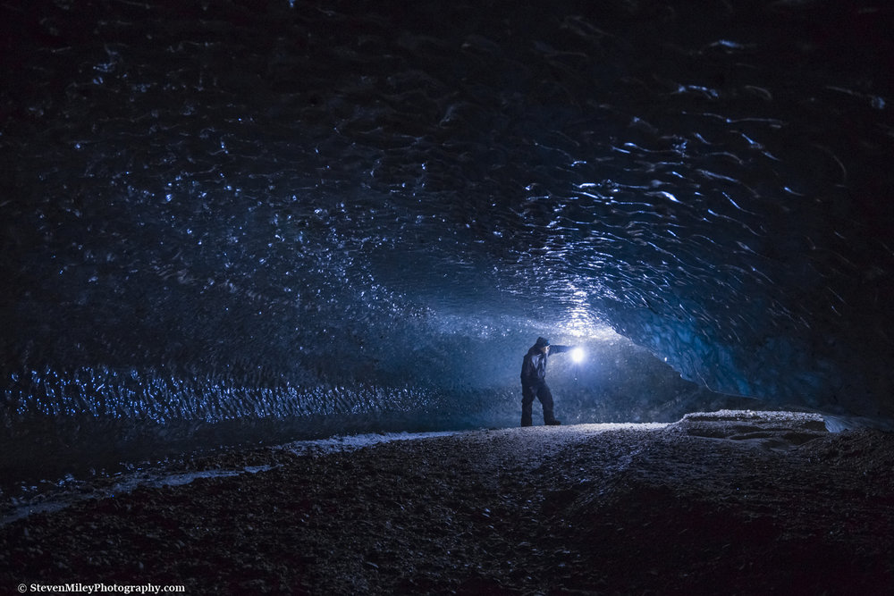 Shooting in total darkness beneath Canwell Glacier. I manually focused on my lantern, then used a wireless shutter release to take a picture while standing as still as possible. Canon 6D, Canon 24-105mm f/4L @24mm, f/4, ISO 3200, 4 sec, tripod.