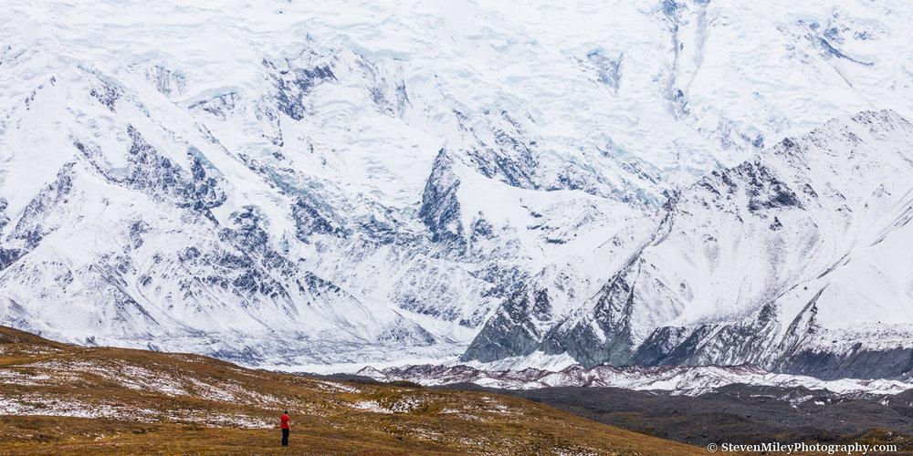 The base of Denali meets Peters Glacier.