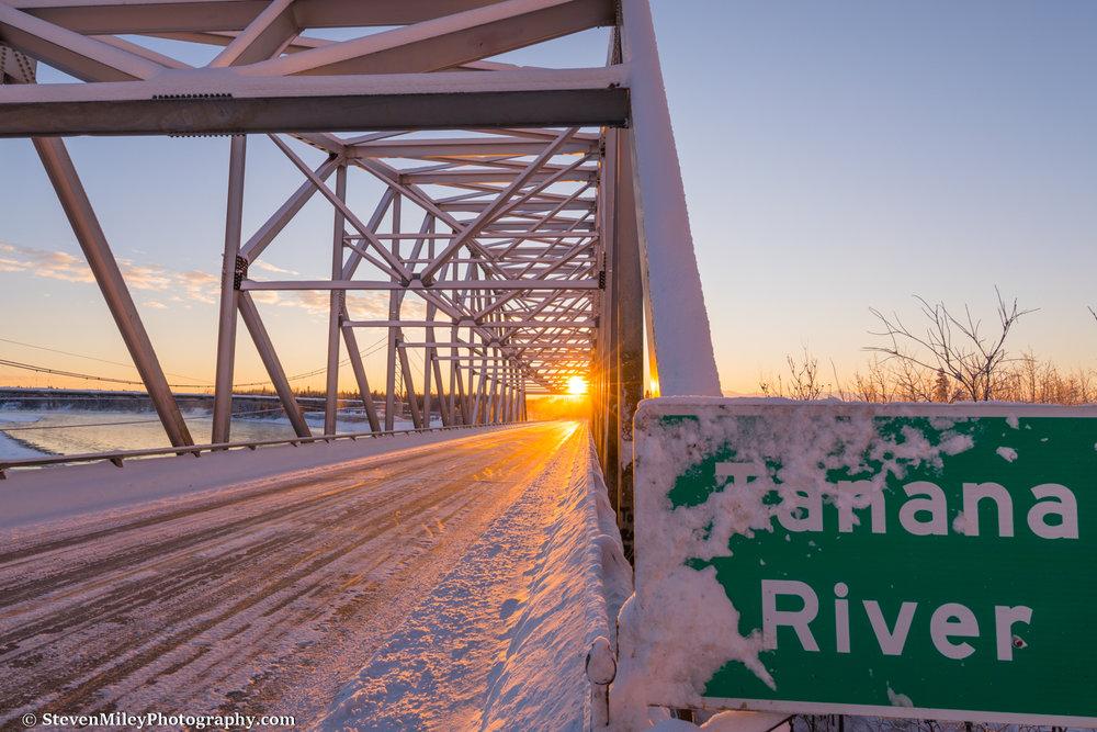 Sunrise at the Tanana River bridge in Big Delta.